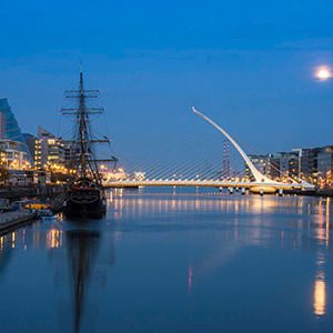 Dublin and the Liffey at night